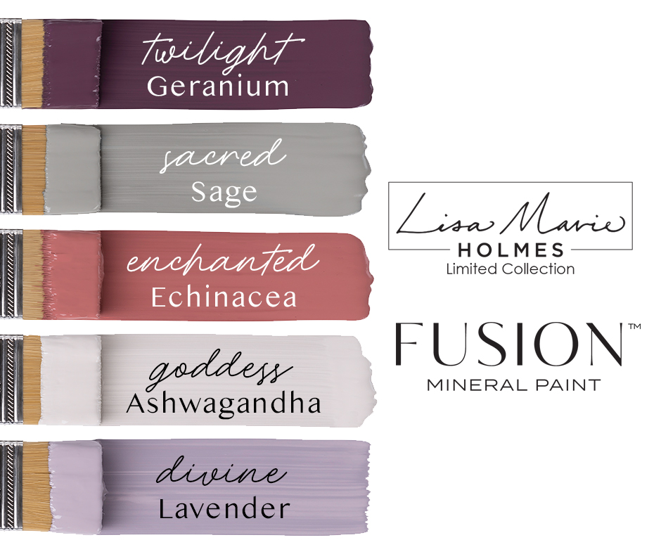 Lisa Marie Holmes Collection Fusion Mineral Paint swatches Moody Twilight Geranium