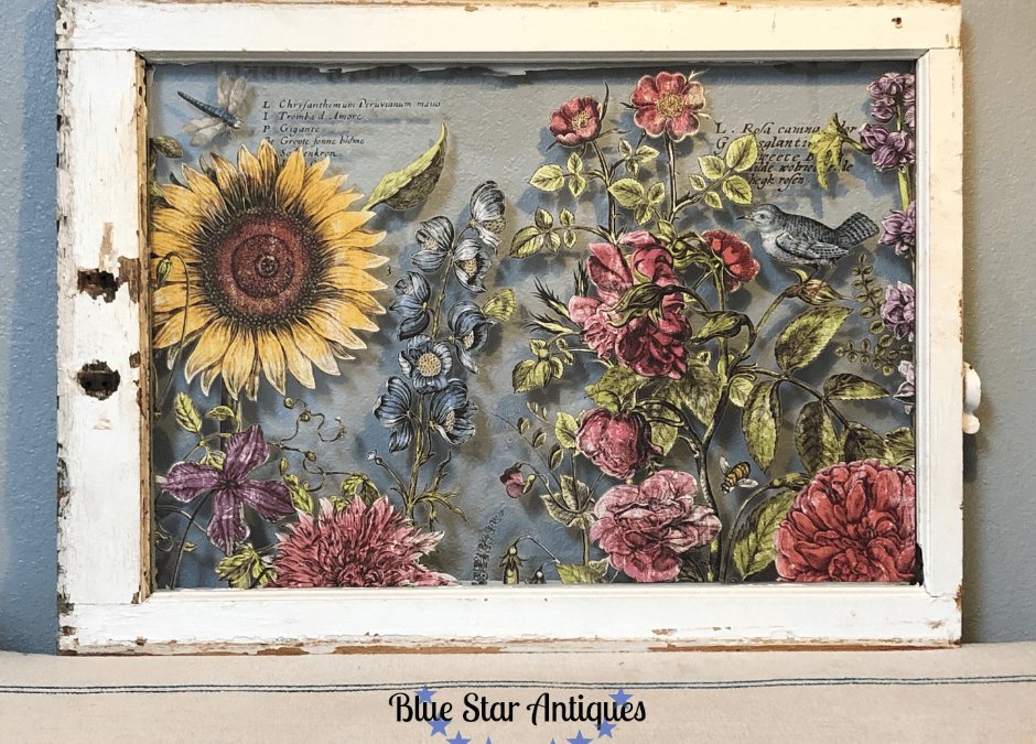 vintage window with transfers