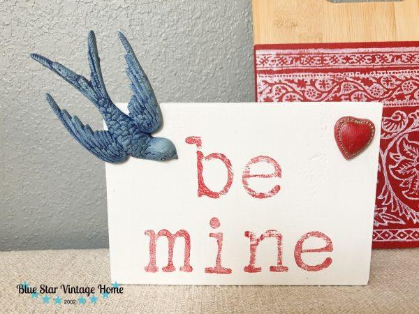 blue star vintage home valentine card Birdsong Mould