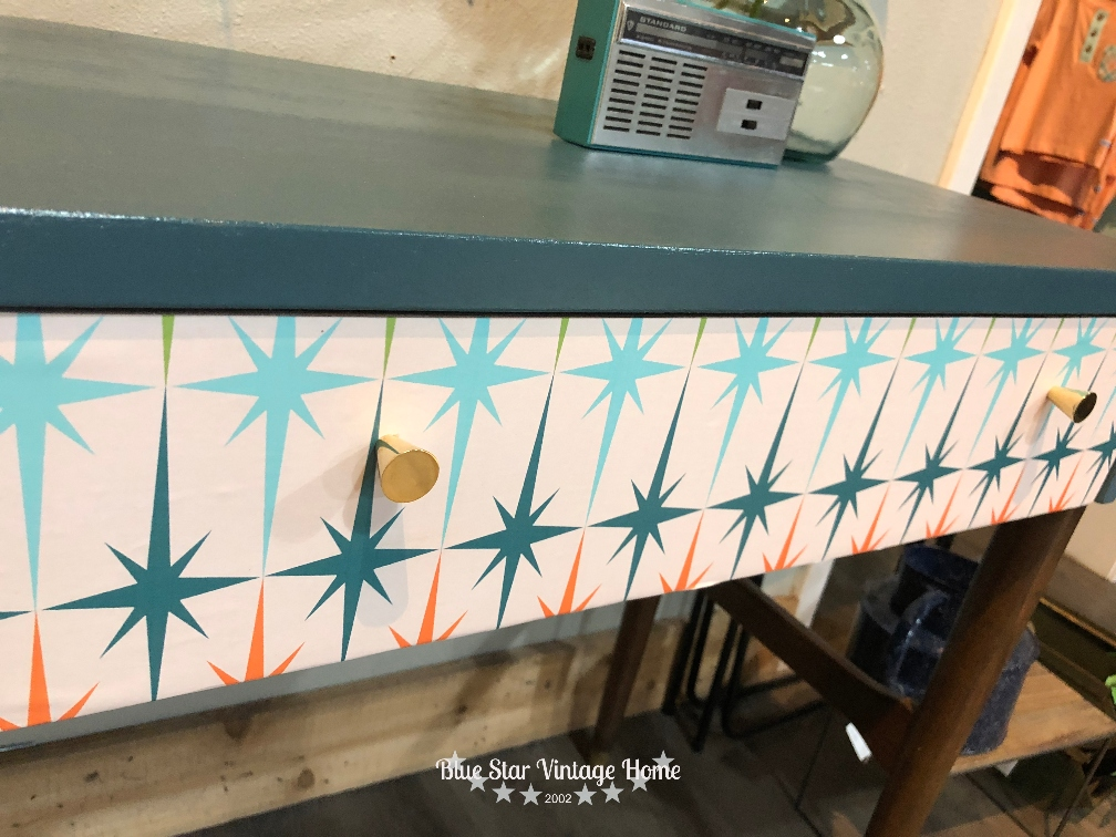 mid century decoupage blue star vintage home An Unbelievable Mid Century Makeover