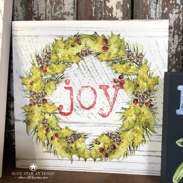 blue star joy wreath Wood Gallery Blank Panels