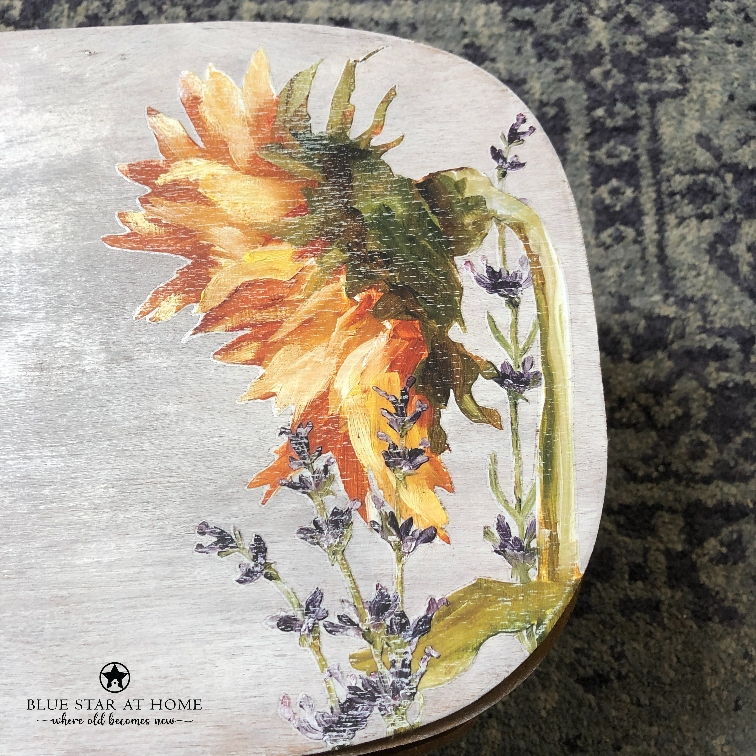 blue star sunflowers Using the New IOD Painterly Florals Transfer