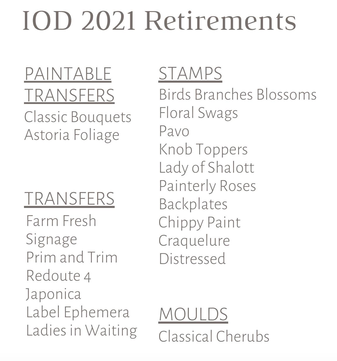 OD's 2021 Retired Designs