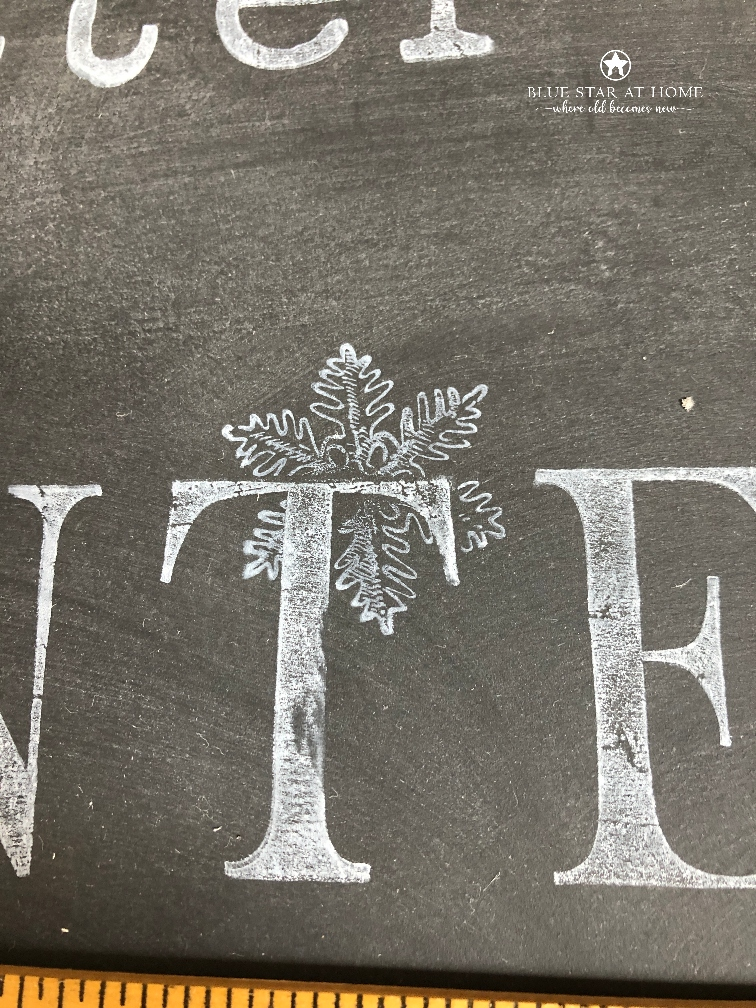 blue star masked snowflake How to Stamp a Chalkboard