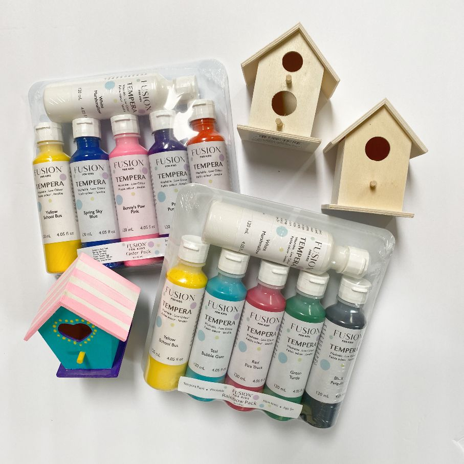 kids tempera paint and free birdhouses
