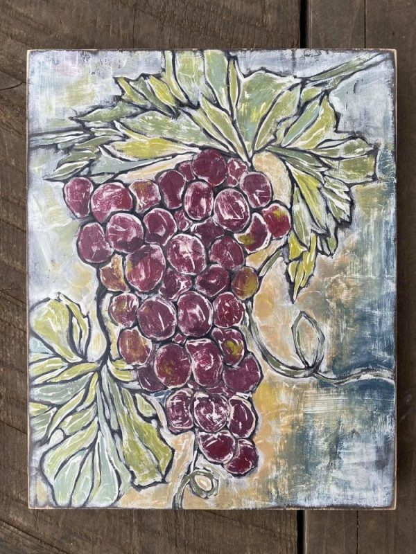 hand painted Grapes stamp
