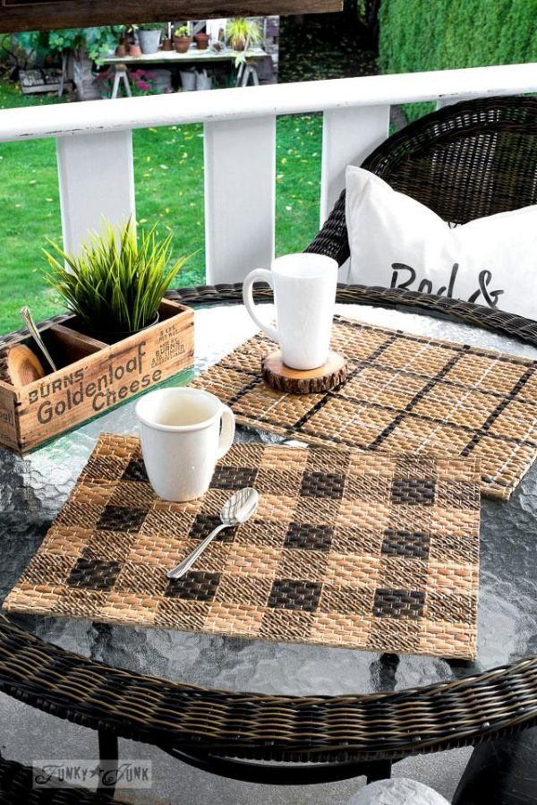 Fall patio with patterned placemats Buffalo Check Plaid Shirt Funky Junk s Old Sign Stencils Plaid Shirt Stencil