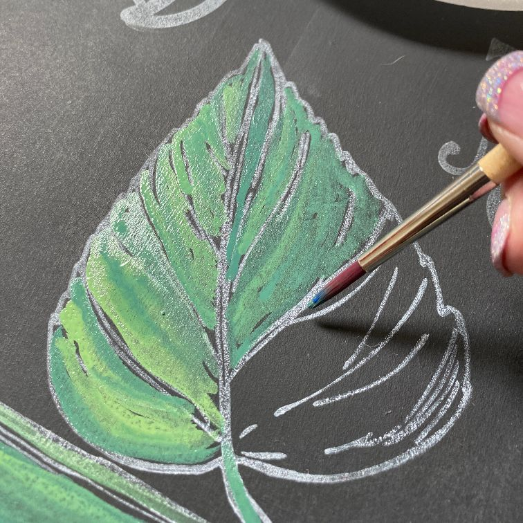 blue star paint leaves Painting with Erasable Liquid Chalk