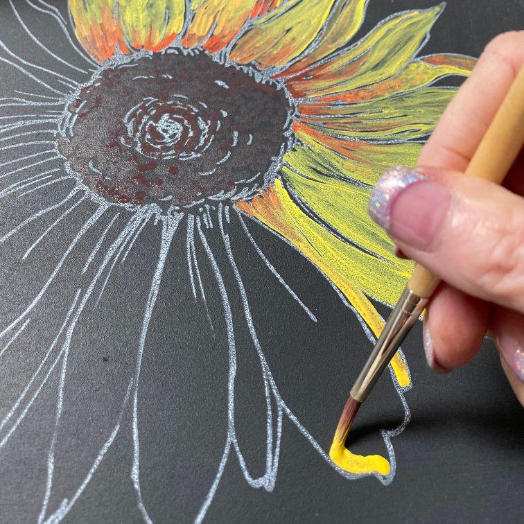 painting sunflowers chalk
